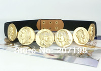 Wholesale Celebrity Women Apparel - Woman Celebrity Belt 6pc Gold Tone Coin Queen&King, Roman Medallion Stretch Belt 3 color for Dress Lady Fashion Apparel Accesory
