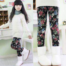 Wholesale Korean Children Floral Leggings - Korean-2015 New Fashion Winter Girls Floral Leggings Cotton Kids Baby Children Mid Waist Leggins Pantyhose Free Shipping
