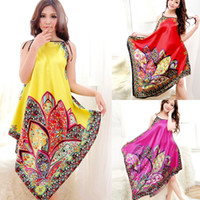 Wholesale Bath Drops - Bright-colored Womens Imitated Silk Lingerie Dress Night Irregular Brace Sleepwear Bath Robes Nighty free&drop shipping