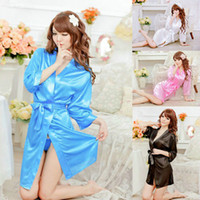 Wholesale white satin g string - Hot Sexy Women Satin Lace Robe Sleepwear Lingerie Nightdress G-string Pajamas