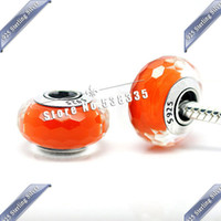 Metals Others Others 2pcs S925 Sterling Silver Orange Fascinating Faceted Murano Glass Beads Charm Fit pandora Bracelet & Necklaces ZS299