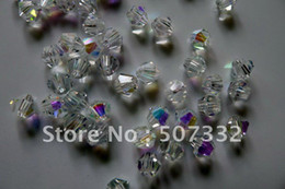 Wholesale Clear Bicone - Wholesale AAA Top Quality 6mm Crystal 5301 bicone Beads- Half Clear AB colour 288pcs lot
