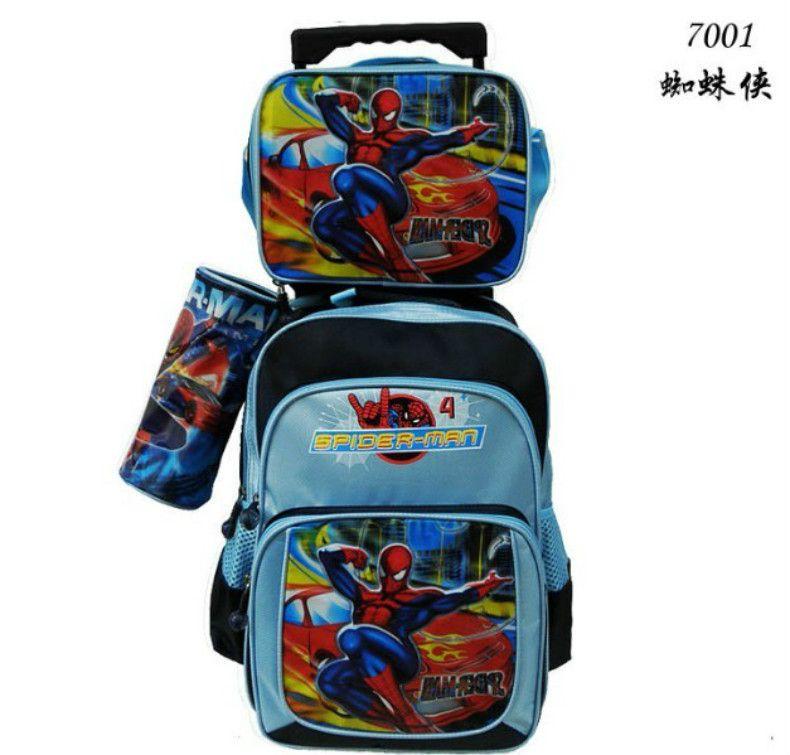 3 Bags In 1 Spider Man Children Trolley School Bag Kit Boys Kids ...