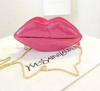 Wholesale Women Sexy Bags - Wholesale-2015 Fashion Mini Lip Hangbag Sexy Chain Clutch Women Bag women messenger bags Crossbody Bag Bolsas Femininas - Red and Pink