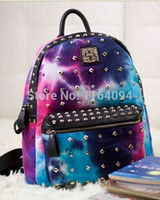 Punk Canvas Galaxy Spike Stud Rivet Backpack Tote Voyage Student Book School Bag homme femme impression garçon fille sac à dos coloré