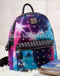 Wholesale Backpack Studs - Punk Canvas Galaxy Spike Stud Rivet Backpack Tote Travel Student Book School Bag men women printing boy girl colorful backpack