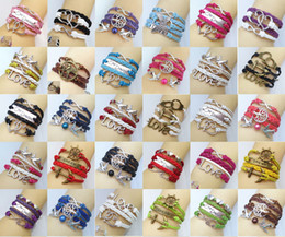 Identification Bracelets Canada - Hot Vintage Braided infinity Leather Bracelet,love charm Multilayer leather bracelet wholesale