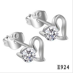Wholesale silver earrings for sale - Group buy New Fashion Sterling Silver Earrings Heart Shape Simulated Diamond Stud Earring Women s pair