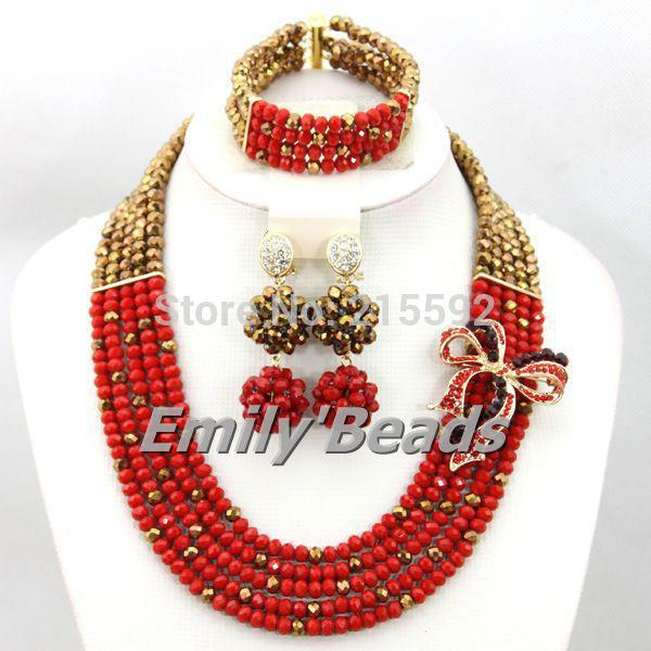 2015 Smart African Costume Jewelry Set Nigerian Wedding Crystal