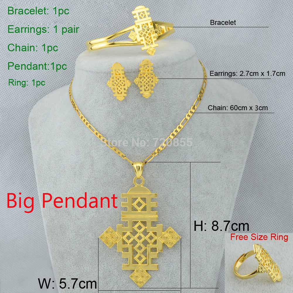 Ethiopian cross big size pendantnecklaceearringbanglering set ethiopian cross big size pendantnecklaceearringbanglering set jewelry eritrea habesha coptic 22k gold plated african women wedding jewelry for mozeypictures Images