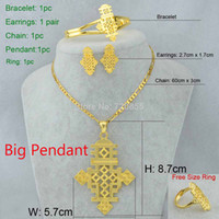 Wholesale Ethiopian Earrings - Ethiopian Cross Big Size Pendant Necklace Earring Bangle Ring Set Jewelry Eritrea Habesha Coptic 22k Gold Plated African Women
