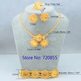 Wholesale ethiopian jewelry - New Arrival Ethiopian Style Coin Pendant Necklace Earring Ring Coptic Set Jewelry 24k Gold Plated African Brazil Eritrea Women