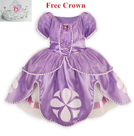 2019 Wholesale Princess Sofia Dress Costume Disfraz Princesa Sofia Vestido Princesa Sofia Princesinha Sofia The First Vestido Infantil Meninas From