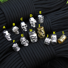 Wholesale Diy Survival - Paracord Beads Metal Charms Skull For Paracord Bracelet Accessories Survival,DIY Pendant Buckle for Paracord Knife Lanyards