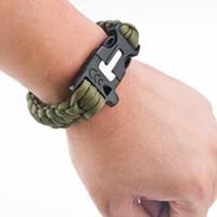 Wholesale Outdoor Survival Magnesium - Free Shipping HX OUTDOORS Survival Whistle Survival Rope With Magnesium Rods Black Green