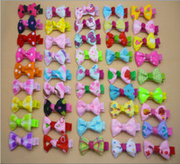 Wholesale Girls Hair Accessories Hairclips - Wholesale-50pcs   lot Free shipping New baby girls Cute bangs clip Bows Hair Clips Girls Tiny Hairclips Childrens Hair Accessories gifts