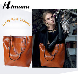 Genuine Leather Handbag Cowhide Shoulder Bag Australia - Big Bag Women Handbags Genuine Leather Oil Wax Cowhide Handbags Lady Real Leather shoulder Messenger Bags Generous Fashion Bag