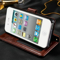Wholesale Iphone4s Leather Cases Stand - Wholesale-Durable Wallet PU Leather case for iphone 4 4s with Stand + 2 Card Holders sleep Grain Phone Bag for iPhone4S with Card Holder