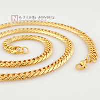 Wholesale Mens Gp Chains - 55cm,6mm, MENS 18K Gold Plated GP Necklace Stainless Steel Chain For Jewelry 2015 Rock, PUNK, Wholesale Free Shipping WN116