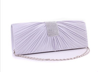 Wholesale Silver Clutch Bags For Prom - Womens Satin Diamante Ladies Pleated for Wedding Fashion Prom Handbag Clutch Bag