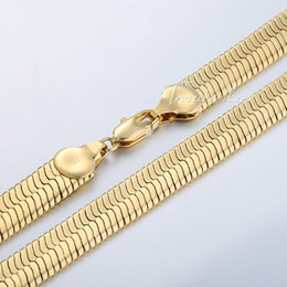 China 10mm Mens Boys Chain MIRROR Snake HERRINGBONE Necklace 18K Gold Filled Necklace Chain 18KGF High Quality Jewelry Gift GN148 cheap mirror necklaces suppliers