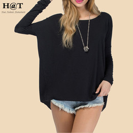 Wholesale T Shirt Free Shiping Women - T48 Celebrity Style Coloured Slouchy Oversized Uneven Hem Full Sleeve T-shirt Long Top Modal T-Shirts Tees 2015 New Free Shiping