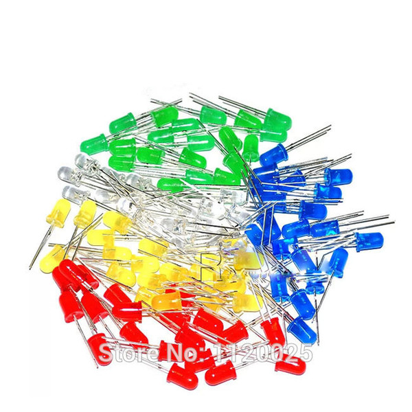 5 Colors x100pcs =500pcs/lot LED Components New 5 mm Round Red/Green/Blue/Yellow/White Color LED Light Diode Kit Free Shipping