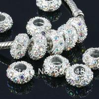 хрустальные стразы 11мм оптовых-Wholesale-11MM Rhinestone Crystal AB , Rondelle Spacers, Metal Silver Plated Crystal Big Hole European Bead Fit Bracelets-100PCS