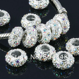 Wholesale European Crystal Spacers - Wholesale-11MM Rhinestone Crystal AB Beads, Rondelle Spacers, Metal Silver Plated Crystal Big Hole European Bead Fit Bracelets-100PCS