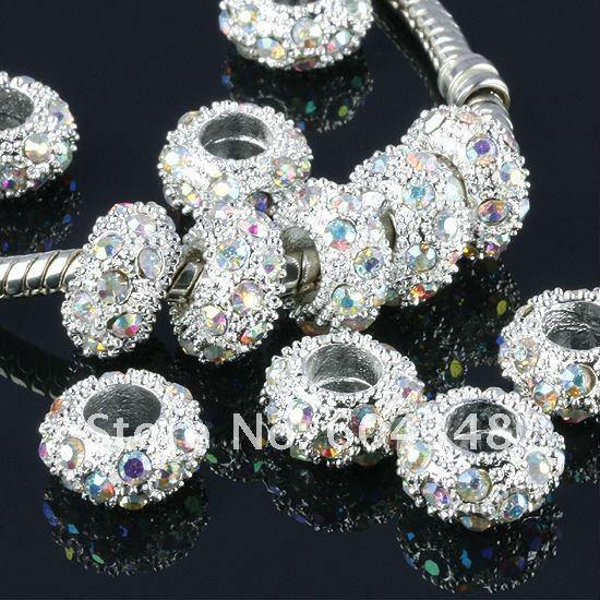 Venta al por mayor-11MM Rhinestone Crystal AB Beads, Rondelle espaciadores, metal plateado Crystal Big Hole Europa Bead Fit Bracelets-100PCS