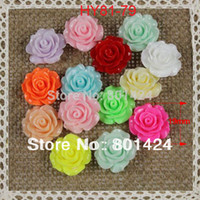 Wholesale Rose Cabochon Mix - Wholesale-free shipping 100pcs 20mm 81-79 Resin Cameos rose Flatback Cabochon mixed colour floating charm