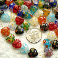 Hot Sale Unique Design 10mm Perles 40pcs Mix Millefiori Lampwork plat Coeur de verre gros-2015