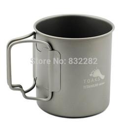 Wholesale Titanium Camping Mug - Wholesale-Toaks Titanium Ti Lightweight Water Cup Mug Outdoor Camping Hiking Cup Picnic Cookware Lockable Grip 450ml CUP-450