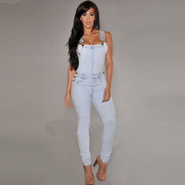 Elegant Plus Size Rompers Canada - summer style rompers womens jumpsuit denim overalls Long bodysuit bodycon elegant Jumpsuits Casual sexy rompers plus size