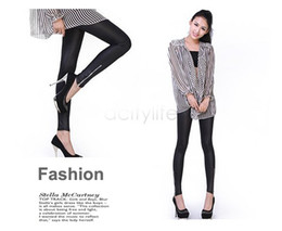 Wholesale leggings zip - Women Leather Leggings Super Repair Ankle Length Trousers Faux Leather Pants Zip Up Leather Legging 35