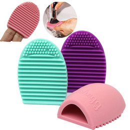 Wholesale-Hot 6Colors Brushegg Cleaning  Washing Brush Silica Glove Scrubber Board Cosmetic Clean Tools Free Shipping made beauty