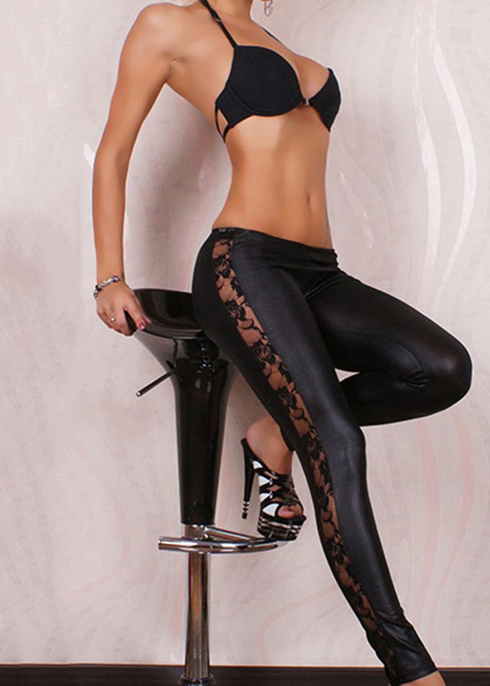 Nuovo trasporto libero popolare nera delle donne Leggings pizzo lucido gotiche in pelle effetto bagnato pantaloni Jeggings