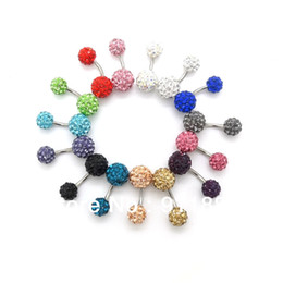 Wholesale Navel Piercing 8mm - Wholesale New Surgical Navel 10mm&8mm Crystal Shamballa Belly Button Rings Body Piercing Jewelry Mixed Colors,Free Shipping