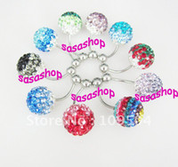 New 12mm Cristal Disco Shamballa boule Belly Button Ring Belly Navel Ring Two Tone Gradient couleur Piercing Bijoux Mix