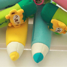Wholesale Soft Toy Pencil Case - Cartoon Plush Toys Soft School Pencil Case Bag pen Pocket Stationery Bag Pink Free Shipping & Drop Shipping