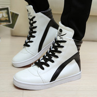 Wholesale Skull Wedges - Hot Selling Top Quality High Top Skull Punk Style Martin Boots Men Ankle Boots Casual Dance Shoes Large Size