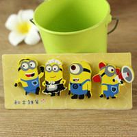 Wholesale Novelty Wooden Animal Magnets - [Crystal] 4pcs set Cute Minions Magnet Sticker of Fridge Cups from the film Despicable Me Novelty Wooden Fridge Refrigerator Toy