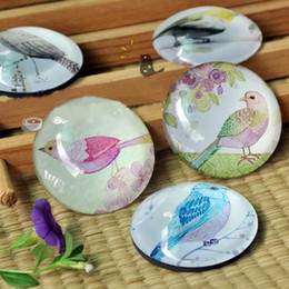 Wholesale Paperweights Gifts - Dia 3.7cm Color Bird Painting Round Glass Fridge Magnet Handicraft Crystal Paperweight Magnetic Gift 5pcs lot FM081