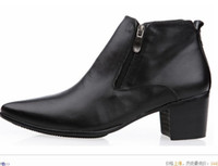 Wholesale Black Elevator Boots - 2015 men 6.5cm Cuban heel Winklepicker pointed toe high heel boots cowhide leather ankles boots elevator shoes