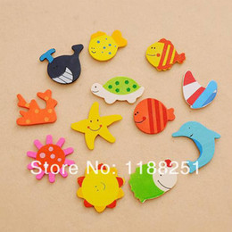 Wholesale Novelty Wooden Animal Magnets - 12Pcs(1Pack) Novelty Gift Wooden Kitchen Fridge Magnet Cartoon Baby Kid Educational Toy Gifts Free Shipping 792gb9