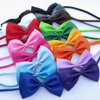 Wholesale Bowtie For Dogs - Lowest Price!!! Solid Color Girls Boys Kids Fashion Bowtie Bow Tie For Men Women Candy Cravat Pet Dog Cat Butterfly FreeShipping