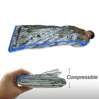 Whole Sale Brand New 100pcs / lot 100x200cm réutilisable Foil d'urgence étanche Sac de couchage Outdoor Survie Randonnée Camping