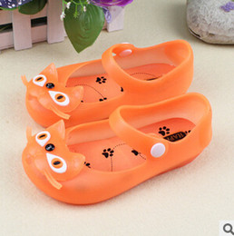 Wholesale Plastic Mini Shoes - Wholesale-2015 mini melissa russy cat baby hole shoes sandals slippers waterproof soft slip-resistant transparent crystal sandals