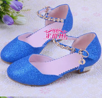 Wholesale Wedding Children Shoe - Wholesale-Nina 2015 Children Princess Sandals Kids Girls Wedding Shoes High Heels Dress Shoes Party Shoes For Girls Pink Blue Gold 08