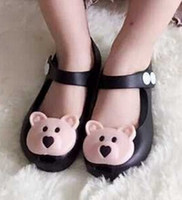 Wholesale Bear Grils - Wholesale-2015 Kids shoes mini melissa Summer childern sandal Cute bear grils shoe slides soft sole flat sandalias Free shipping WD294